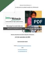 Noticias del sistema educativo michoacano al 12 de noviembre de 2019