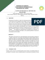 Informe Cuantificación de Proteinas. Metodo de Bradford Lab Analisis de Alimentos