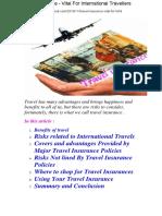 Travel Insurance - Vital for International Travellers