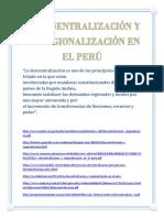 La Desentralización y La Regionalización en El Perú