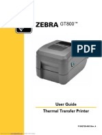 Printer Zebra GT800 Manual Documentation
