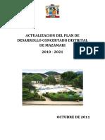 Actualizacion Del Plan de Desarrollo Concertado Distrital de Mazamar1