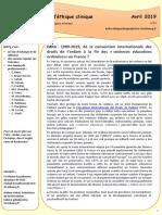Infos Comité d'éthique Avril 2019