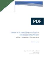 Manejo de Transacciones, Bloqueos y Control de Concurencia