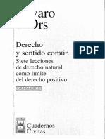 Derecho y Sentido Común. Álvaro D' Ors