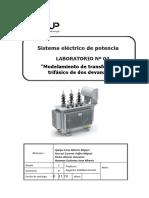 Lab 4 Modelamiento Del Transformador Trifásico de Dos Devanados