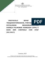 Protocolo Bipap Para Traqueostomizados, Portadores de Patologias Neuromusculares, Doença Pulmonar Avançada Dpa e Saos Se