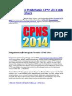 Pengumuman Pendaftaran CPNS 2014 Oleh MENPAN Terbaru