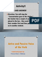 Active and Passive Voice of the Verb