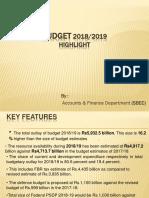 Budget Presentation 2018/2019