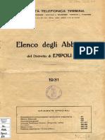 Elenco Telefonico Antico Empoli 1931
