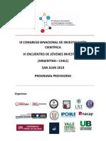 Programa Provisorio - Ponencias y Posters