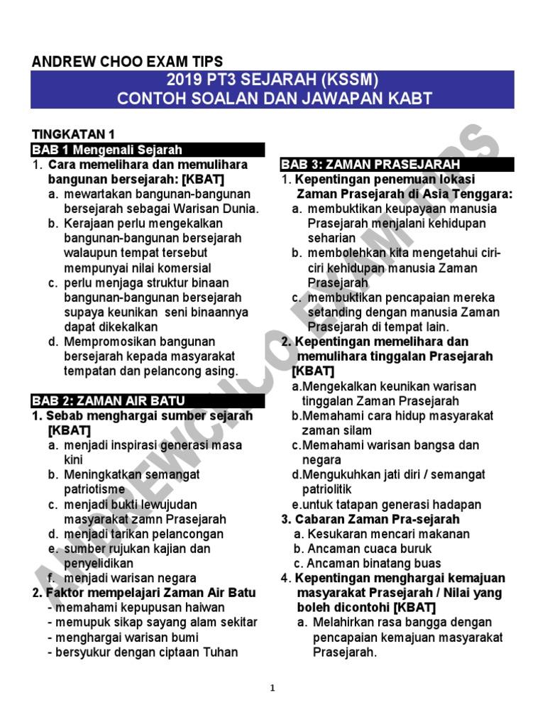 2019 Pt3 Sejarah Contoh Soalan Dan Jawapan Kbat