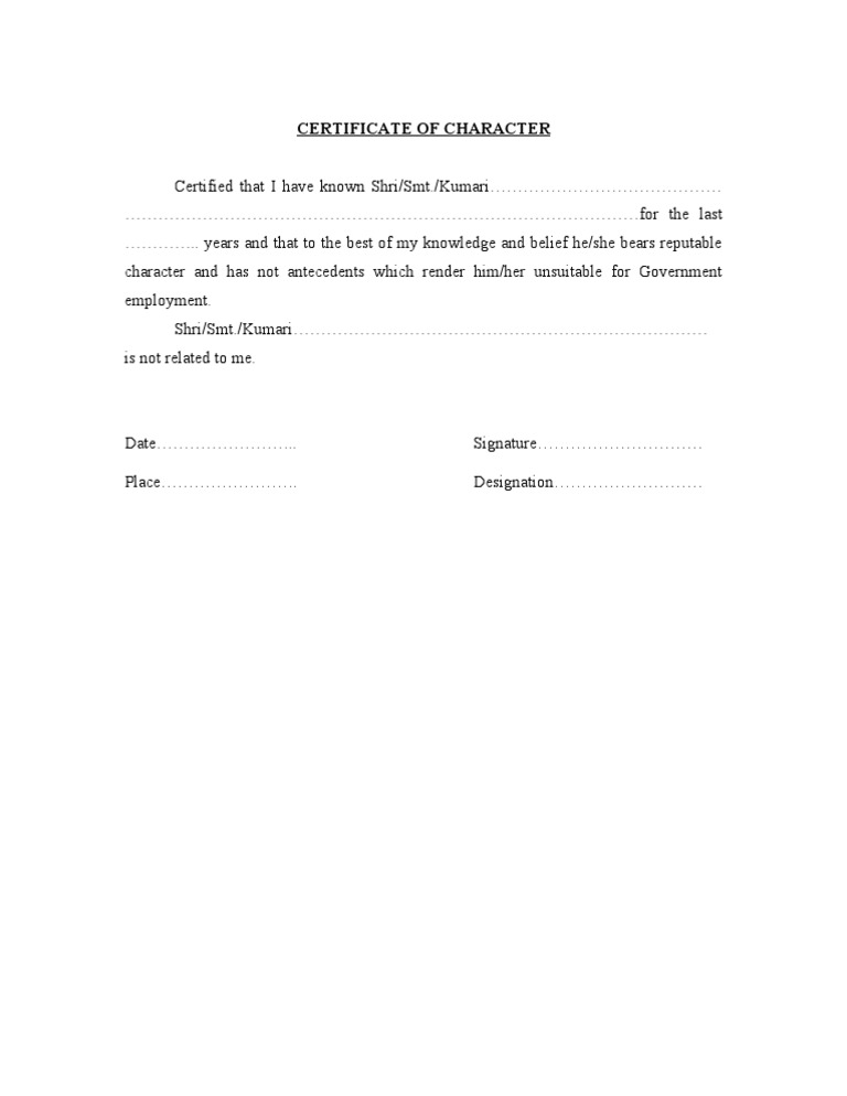 Character certificate format yadclub Image collections