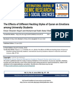 The Effects of Different Reciting Styles of Quran on Emotions Among University Students1