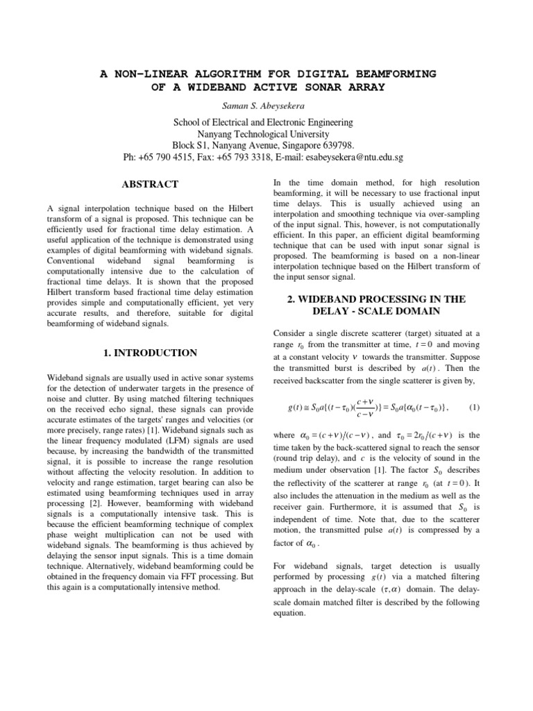A Non-linear Algorithm for Digital Beam Forming of a