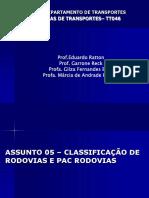 Unidade 01 - Classificação Das Rodovias