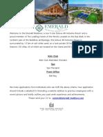 Emerald Maldives - Job Posting 14.11.2019