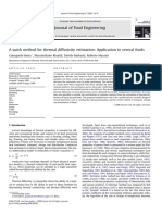 A Quick Method for Thermal Diffusivity Estimation Application to Several Foods