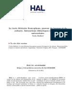 Le Texte Littéraire Francophone, Passeur de Langues Et De