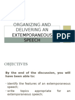 Organizing and Delivering an Extemporaneous Speech