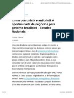 China Comunista e Anticristã é Oportunidade de Negócios Para Governo Brasileiro - Estudos Nacionais