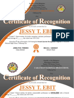 Certificate of Recognition - 2nd Quarter