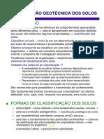 CLASSIFICAÇÃO GEOTÉCNICA DOS SOLOS