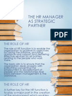 The Hr Manager as Strategic Partner