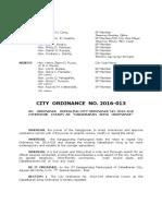 Cabadbaran City Ordinance 2016-13