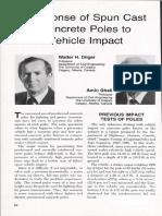 Response of Spun Cast Concrete Poles to Vehicle Impact