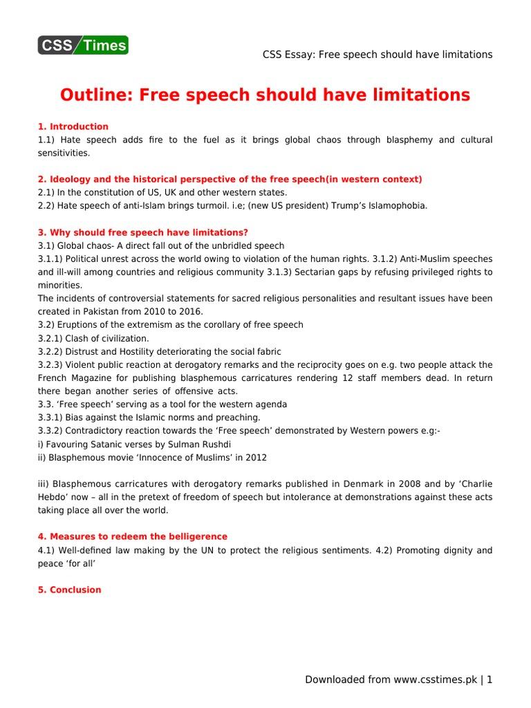 free speech should have limitations essay