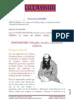 FEDOR DOSTOIEVSKI, Filosofía, novela y experiencia religiosa