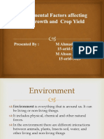Environmental Factors Affecting Plant Growth and Crop Yield