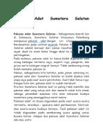 Informasi Adat Sumatera Seatan