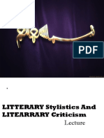 Lecture 1st Literary Stylistics and Criticism