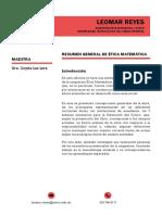Sintesis de Ética Matemática. Leomar Reyes