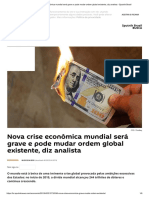 Nova Crise Econômica Mundial Será Grave e Pode Mudar Ordem Global Existente, Diz Analista - Sputnik Brasil