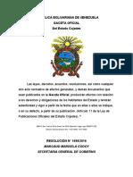 Reforma de La Ley de Minas Del Estado Bolivariano de Cojedes