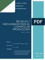 TÉCNICAS Y MECANISMOS PARA EL CONTROL DE PRODUCCIÓN