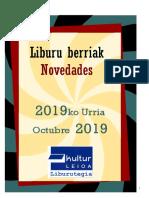 2019ko urriko liburu berriak -- Novedades de octubre del 2019