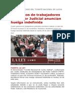 Sindicatos de trabajadores del Poder Judicial anuncian huelga indefinida