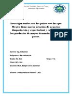 Investigar Cuáles Son Los Países Con Los Que México Tiene Mayor Relación de Negocios