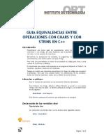 GUIA DE EQUIVALENCIAS ENTRE  OPERACIONES CON CHARS Y CON STRINGS EN C++