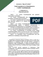 Legea privind organizarea și funcționarea Curții Constituționale a României