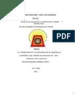 EL TURISMO MISTICO Y SU INFLUENCIA EN EL DESARROLLO ECONÓMICO DEL CASERIO DE CACHICHE ICA – 2018