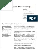 Hoja de Impresión de Panes de Pita Integrales (Whole Wheat Pita)