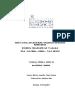 Impacto de La Política Monetaria en Los Mercados Financieros Evidencia Para Renta Fija y Variable EEUU-Colombia-Brasil-Chile-Méx