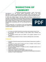 Introduction of Cadbury