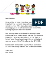 all about me- letter to families